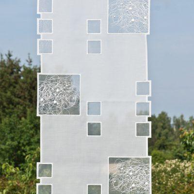 Moderne Scheibengardine Schneeballspitze modern 44 cm breit_1