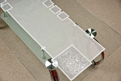 Moderner Tischläufer Schneeballspitze modern 31X122 cm Plauener Spitze
