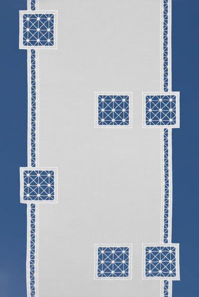 Moderne Scheibengardine Flächenvorhang Schneeballspitze Quadrat