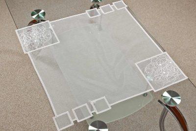 Moderne Tischdecke Plauener Spitze Schneeballspitze modern 60x60 cm