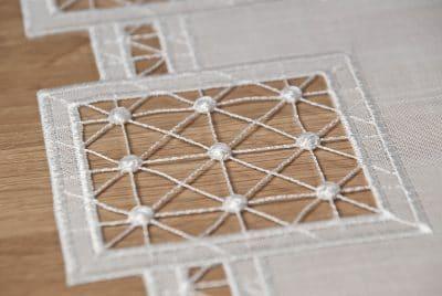 Moderne Tischläufer Plauener Spitze Quadrat 40x100 cm
