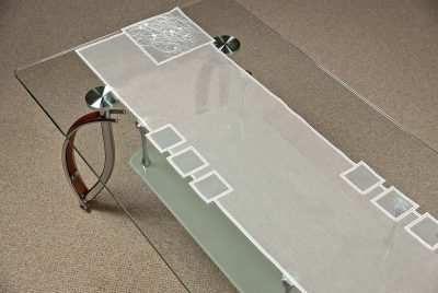 Moderner Tischläufer Plauener Spitze Schneeballspitze modern 31x122 cm