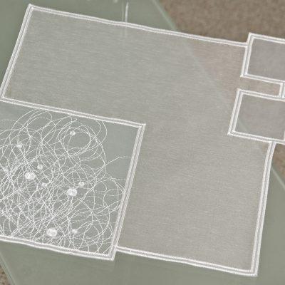 Modernes Tischdeckchen Plauener Spitze Schneeballspitze modern