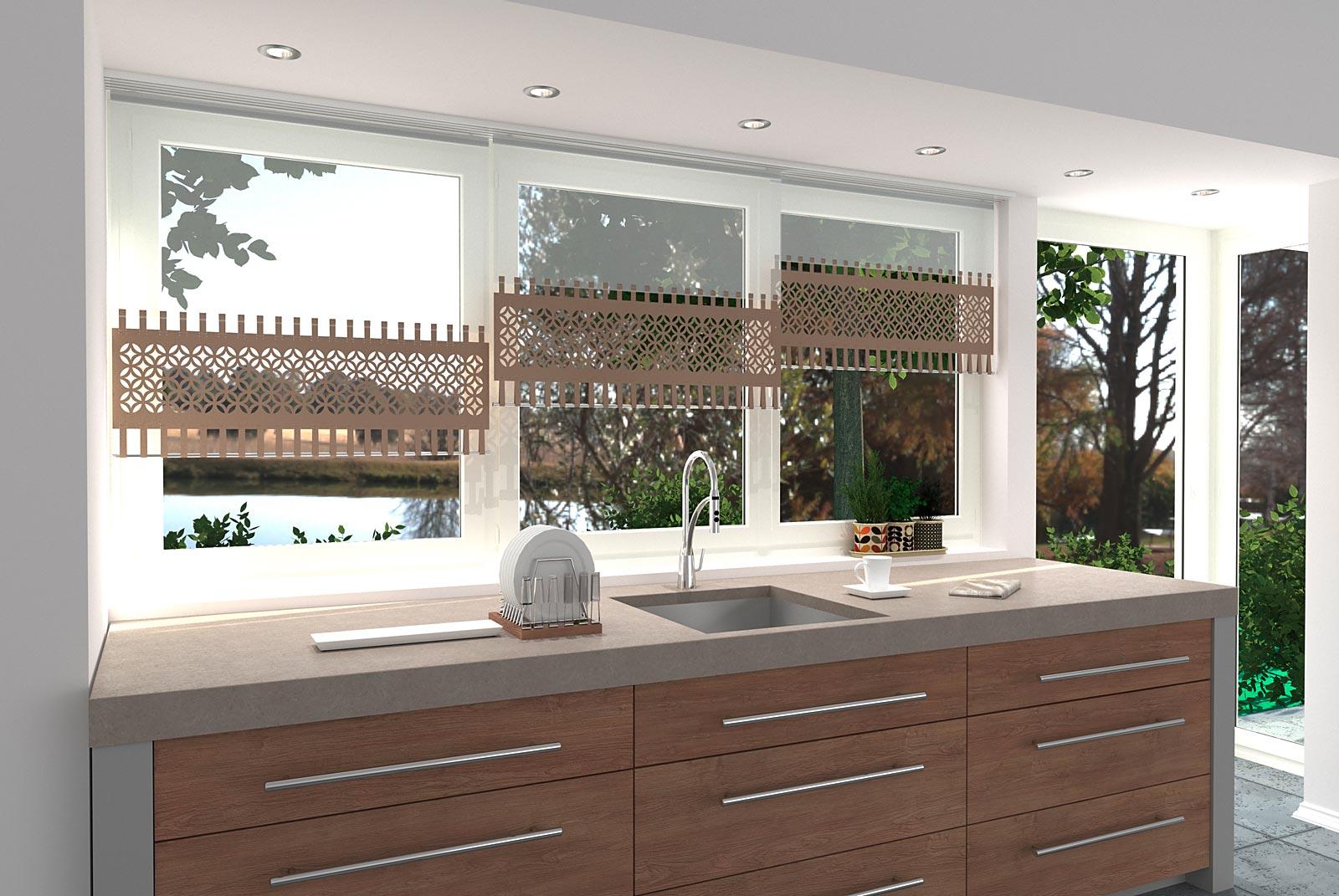 Gestaltungsbeispiel Scheibengardine Loop-Strap-Abschluss unten Lasercut für die Küche