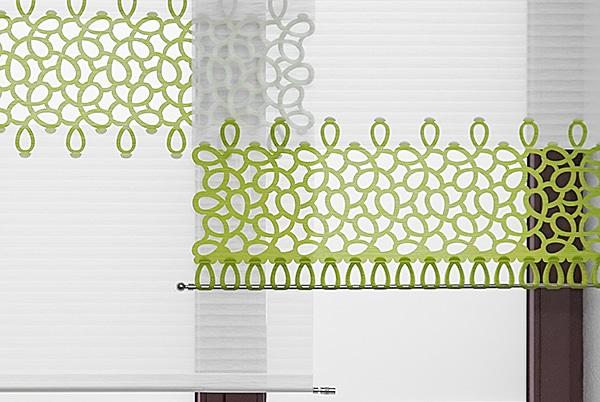 Gestaltungsbeispiel Scheibengardin mit Loop-Strap-Abschluss für den Wohnbereich